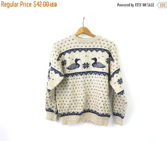 Oatmeal Duck Sweater 80s Blue Birds Pullover Knit Sweater Snowflake Sweater Cotton & Wool Sweater Womens Size Large