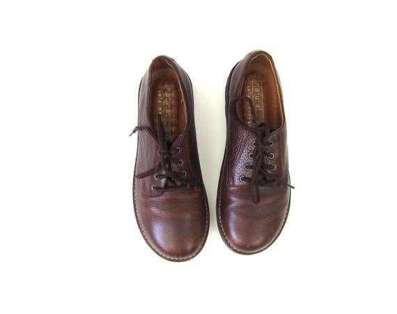vintage brown leather oxfords shoes Chocolate Brown Hipster Preppy Hipster Shoes Lace Up Chunky Tie Shoes Size Women's 8