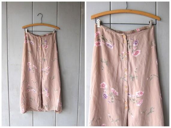 90s Floral Midi Skirt Beige Rayon Gauze Flower Print Long Skirt High Waist Bohemian Preppy Skirt Button Front Skirt DES Womens Small Medium