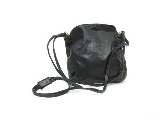 Vintage black Soft leather purse Long Cross Body shoulder Strap purse Small Sized Simple Basic Purse Biker Crossbody Bag