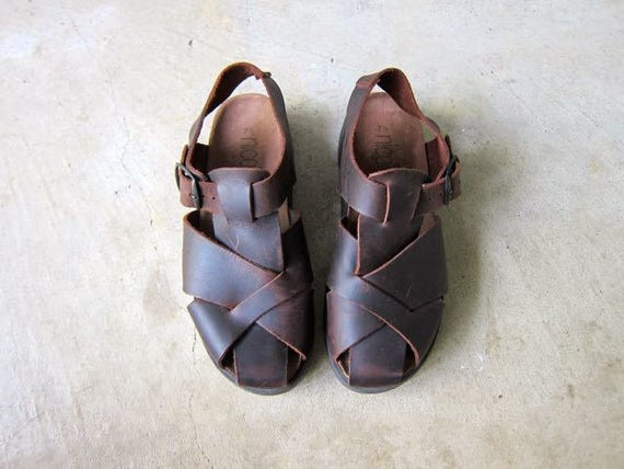 90s Brown Leather Sandals Thick Strappy Sandals Chunky Heels Cork Soles Buckled Sandals Woven Leather Sandals Vintage Minimal Womens 7.5