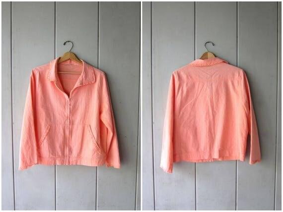 Basic Cotton Zip Up Jacket 90s Peach Orange Spring Jacket Sporty Athletic Preppy Outdoors Coat Minimal Summer Jacket Womens Medium