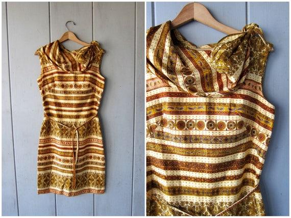 1950s Dress Sleeveless Golden Yellow Printed Day Dress 50s Cotton Dress Midi Dress High Waist Sheath Dress Hong Kong Womens XS Small