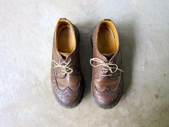 Vintage Doc Martens Wing Tip Shoes Brown Leather Chunky Lace Up Oxfords Made In England Yellow Stitching Doc Marten Shoes Mens UK 4