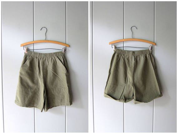 Army Green Board Shorts 90s Elastic Waist Thin Cotton Shorts Minimal Green Shorts MOM Shorts with Pockets Vintage Beach Shorts Women Small