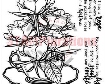 A Cup of Roses clear stamp set 4x4 STAMPlorations