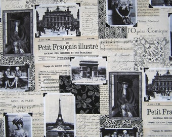 Timeless Treasures - April in Paris Fabric Collage Victorian France Beige /Yd