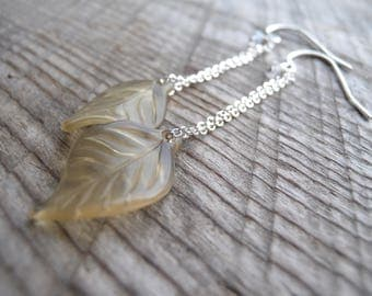 Vintage Lucite Leaf Earrings