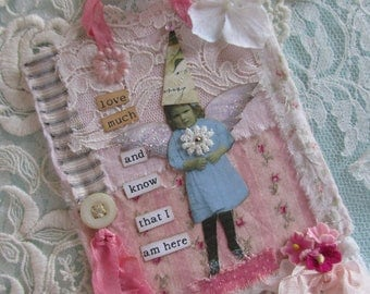 Mixed Media Collage, Shabby Wall Hanging, Fabric Collage, Lace Collage Art