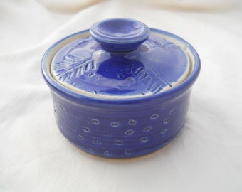 Small cobalt lidded jar