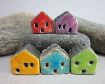 5 Raku House Beads...Red Purple Yellow Lagune Green