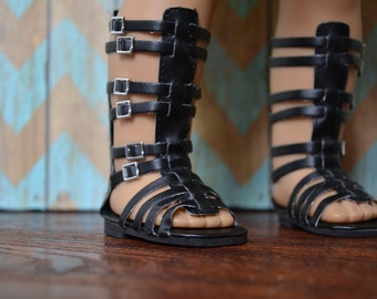 Doll Shoes - Black Tall Gladiator Sandal - fits American Girl