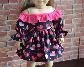 18 inch Doll Clothes - Sparkle Hearts Rumba Dress - BLACK PINK RED - Ruffle Frill - fits American Girl