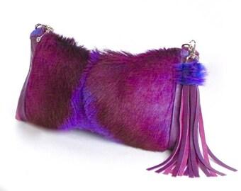 Violet Fur Clutch ~ Purple Fur Bag ~ Springbok Clutch~ Purple Leather Clutch ~ Purple Suede Bag ~ Springbok Cross Body ~ Genuine Fur Bag