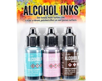 Tim Holtz Alcohol Inks- Pool, Pink Sherbert and Espresso Colors