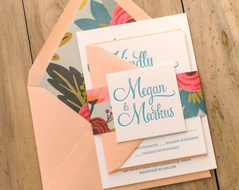 Letterpress - Peach and Turquoise Floral Wedding Invitations - SAMPLE (BAILEY)