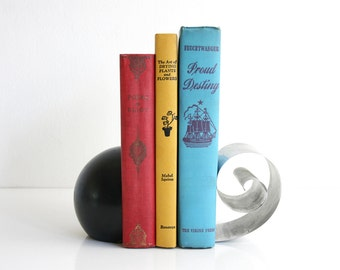 Art Deco Coiled Revere Book Holder / 1930s Spiral Bookend / Mid Century Coil Bookend / Wood and Metal Bookend