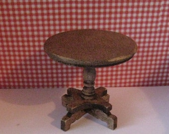 Dollhouse side table, small table, round table, pedestal table,  dark oak table,  country,  twelfth scale,  dollhouse mini