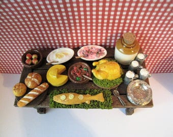Tudor feast, trestle table, filled table . LTudor foods, Tudor, Medieval meal,  twelfth scale dollhouse miniature