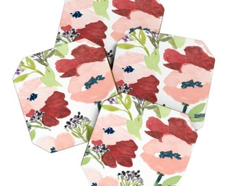 Pink Poppies Coaster Set