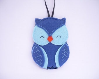 Owl felt Christmas ornament - blue bird felt decoration - wall decor - felt owl ornament - Personalized Owl Ornament