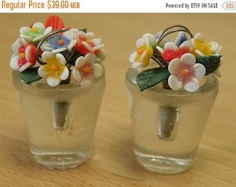 SALE 2 Miniature Pots of Flowers.. Place Holders..COLORS