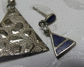 2 Triangle Earrings, one is Blue LAPIS