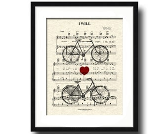I Will by The Beatles His and Hers Bicycle Sheet Music Art Print , Custom Wedding & Anniversary, Name and Date, First Dance