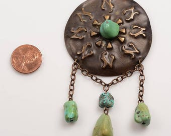 American Arts and Crafts Movement Copper Repousse  Brooch with Turquoise Nuggets - c, 1910