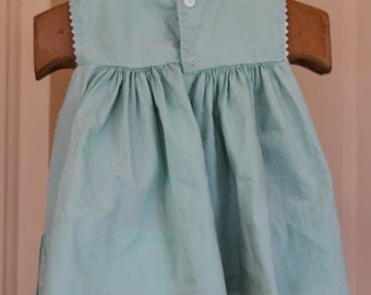 Vintage Green Cotton Toddler Girl Dress, 1950's