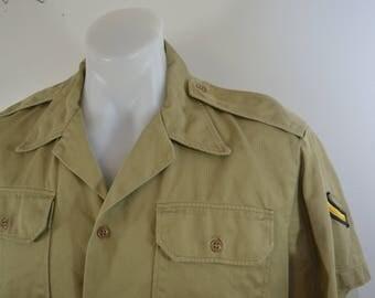 Vintage U.S. ARMY Khaki Tan Short Sleeve Shirt large private stripes 1960's