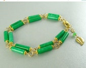 25OFF Green Quartz Bracelet, Double Link Bracelet, Green and Gold Bracelet