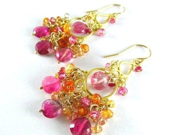 25OFF Pink Tourmaline With Sapphire And Quartz Gold Filled Cluster Chandelier Earrings
