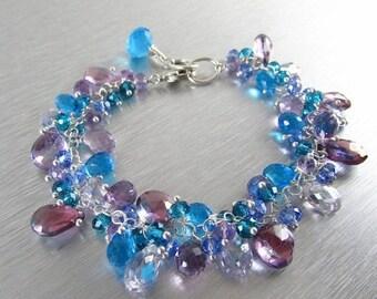 25 % OFF Turquoise and Lavender Gemstone Bracelet
