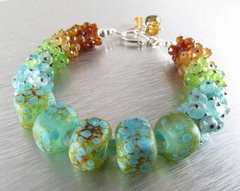 25 % OFF Handmade Lampwork Beads With Mixed Gemstone Cluster Bracelet