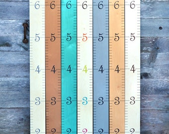 Wooden Ruler Growth Chart / Kids Wood Height Chart / Personalized Child Wall Hanging Ruler