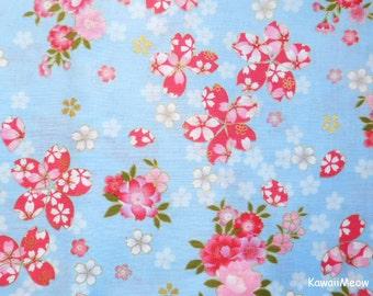 Japanese Kimono Fabric - Sakura Cherry Blossoms on Blue - Half Yard (na161212)