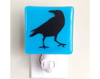 Crow Night Light - Raven Gift - Hand Painted Glass Nightlight - Red