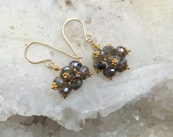 HALLOWEEN SALE Labradorite Cluster Earrings 14kt Gold Fill Wire Wrapped Petite Labradorite Cluster Wedding Earring Bridesmaid Grey Earrings