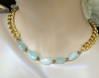 40% SALE Aquamarine Gold Chain Necklace Aquamarine Chunky Choker Necklace Gemstone Statement Chain Choker March Birthstone Aquamarine Nugget