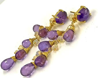 Amethyst Boho Dangle Earrings Wire Wrap Gold Fill Purple Amethyst Post Earrings Ethiopian Opal Gold Post Earring Boho Chic Bohemian Luxe