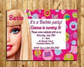 Barbie Custom Made Birthday Invitation - 4 x 6 print - Digital Delivery
