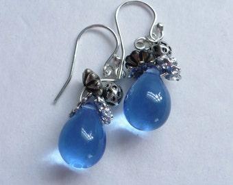 Karina's Sweet Chicory Silver Tone Charm Blue Drop Fashion Dangle Earrings Sterling Ear Wires #1