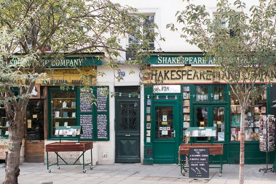 Paris Photography, Shakespeare and Company Storefront, Paris Decor, Book Lovers, Office Decor, Francophile Art, Gallery Wall, Paris Print
