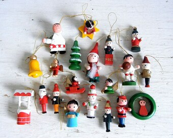 20 Vintage Christmas Wooden Ornaments | Miniature Angels Drummer Rocking Horse Skier and more