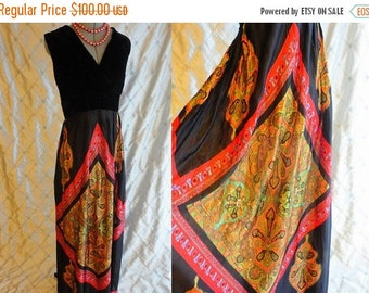 VINTAGE SALE 60s Dress // 70s Dress // Vintage 1960s 70s Psychedelic Hippie Maxi Dress with Black Crushed Velvet Top and Paisley Skirt by Vi