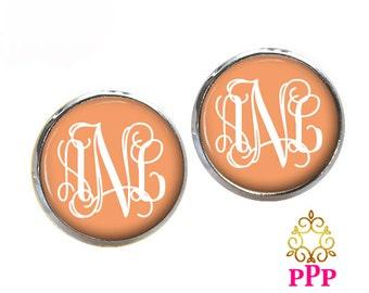 Peach Monogram Earrings, Pendant Earrings, Silver Stud Earrings, Dangle Earrings, Personalized Studs, Personalized Jewelry, Gift 376
