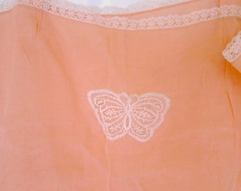 Vintage Romper Peach Silk with Ecru Lace Lingerie Butterflies Sexy 1930s Nightie Camisole Bridal Lingerie Honeymoon