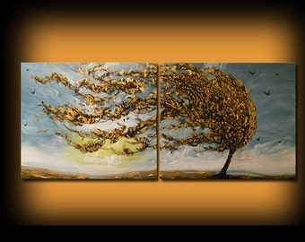 Blue sky gold tree blowing wind tree painting contemporary modern art abstract painting on canvas original landscape painting Mattsart