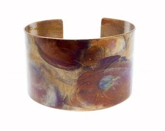 """Copper Cuff, Artisan Jewelry, Boho Cuff Bracelet, Tie Dye Jewelry, Earthy Colors, Summer Jewelry, Girlfriend Gift, 1 1/2"""" Cuff"""